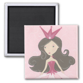 Princesa rosada Magnet Imán Cuadrado