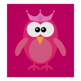 Princesa rosada Owl Poster