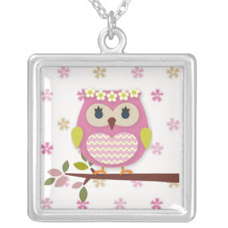 Princesa rosada Owl Square Necklace Colgante Cuadrado