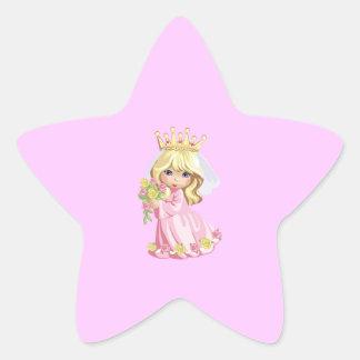 Princesa rosada pegatina en forma de estrella