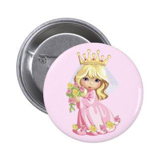 Princesa rosada pin redondo de 2 pulgadas