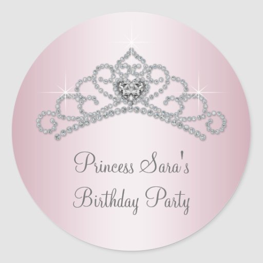 Princesa rosada Stickers del rosa de la tiara Pegatina Redonda