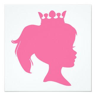 """Princesa rosada T-shirts y regalos de la silueta Invitación 5.25"""" X 5.25"""""""