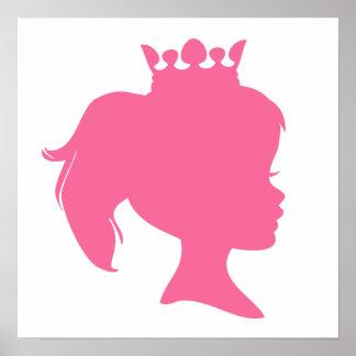 Princesa rosada T-shirts y regalos de la silueta Poster