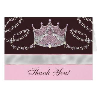 Princesa rosada Thank You Cards de Brown Felicitaciones