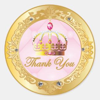 Princesa rosada Thank You Stickers