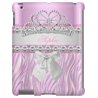 Princesa rosada Tiara Diamond Girly de la cebra Funda Para iPad