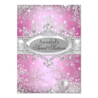 Princesa rosada Winter Wonderland Sweet 16 invita