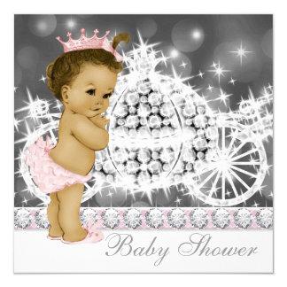 Princesa rosada y gris elegante fiesta de invitación 13,3 cm x 13,3cm