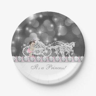Princesa rosada y gris elegante fiesta de plato de papel de 7 pulgadas