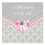 Princesa rosada y gris fiesta de bienvenida al beb invitaciones personales