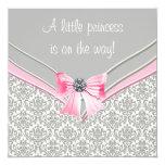 Princesa rosada y gris fiesta de bienvenida al invitación 13,3 cm x 13,3cm