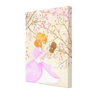 Princesa rosada y lona envuelta ardilla impresión en tela