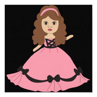Princesa rosada y negra 1 del vestido invitación personalizada