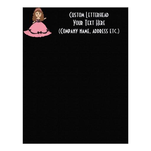 Princesa rosada y negra 1 del vestido plantillas de membrete