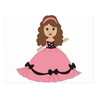 Princesa rosada y negra 1 del vestido postal
