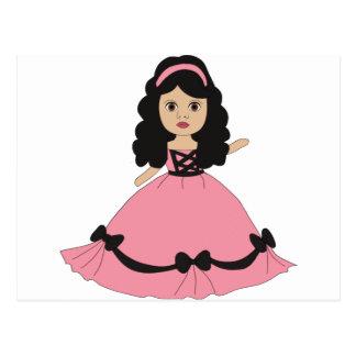 Princesa rosada y negra 2 del vestido postal