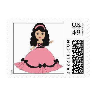 Princesa rosada y negra 2 del vestido sellos