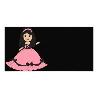 Princesa rosada y negra 2 del vestido tarjeta fotografica personalizada