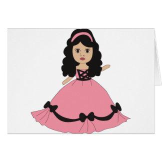 Princesa rosada y negra 2 del vestido tarjetas