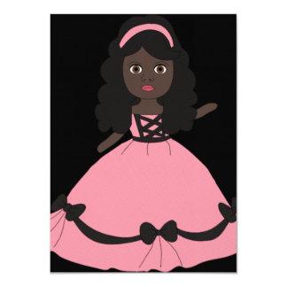 Princesa rosada y negra 3 del vestido invitación 11,4 x 15,8 cm