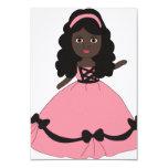 Princesa rosada y negra 3 del vestido invitación 8,9 x 12,7 cm