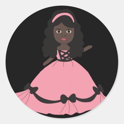Princesa rosada y negra 3 del vestido pegatina redonda