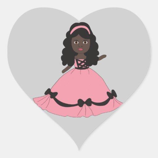 Princesa rosada y negra 3 del vestido pegatina de corazón