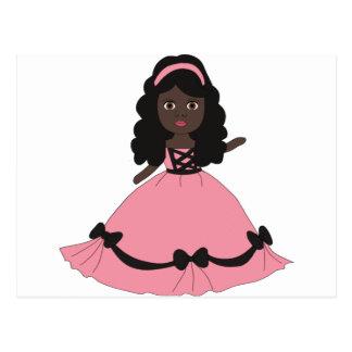 Princesa rosada y negra 3 del vestido postal