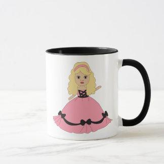 Princesa rosada y negra 4 del vestido taza