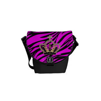 Princesa rosada y negra la bolsa de mensajero de bolsas de mensajería
