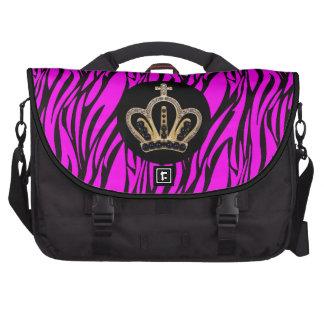 Princesa rosada y negra Laptop Bag de la cebra Bolsa De Ordenador