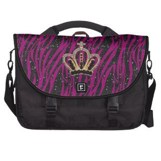 Princesa rosada y negra Laptop Bag de la cebra Bolsas De Ordenador