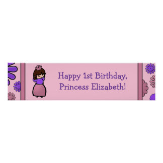 Princesa rosada y púrpura Birthday Custom Poster