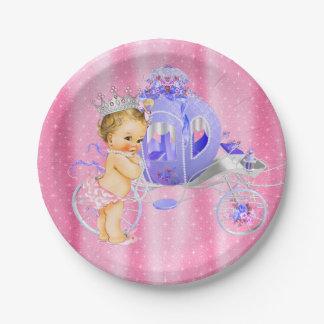 Princesa rosada y púrpura fiesta de bienvenida al plato de papel de 7 pulgadas