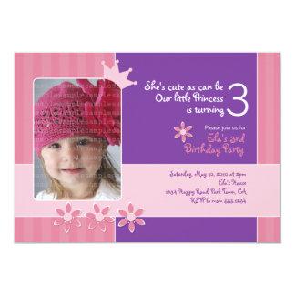 """Princesa rosada y púrpura Invitation Photocard Invitación 5"""" X 7"""""""