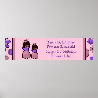 Princesa rosada y púrpura poster del personalizado