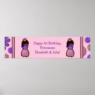Princesa rosada y púrpura Twin Birthday Custom Pos Posters