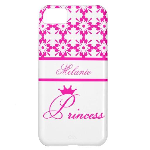 Princesa-Rosado y blanco+Personalice el nombre Carcasa Para iPhone 5C