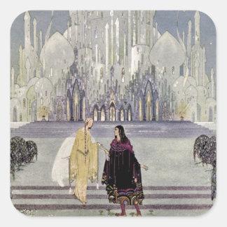 Princesa Rosette y príncipe Charmant Pegatina Cuadrada