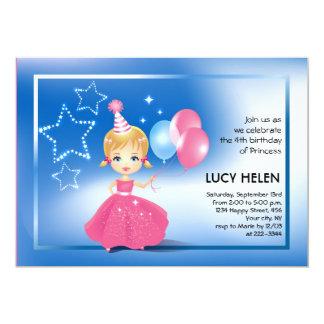 "Princesa rubia Children Birthday Invitation Invitación 5"" X 7"""