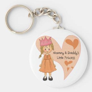 Princesa rubia de la mamá y del papá llaveros personalizados