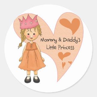 Princesa rubia de la mamá y del papá pegatina redonda