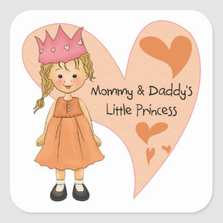 Princesa rubia de la mamá y del papá calcomanias cuadradas