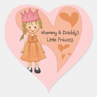 Princesa rubia de la mamá y del papá pegatinas corazon