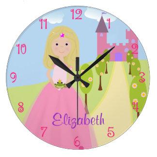 Princesa rubia dulce Personalized Reloj Redondo Grande
