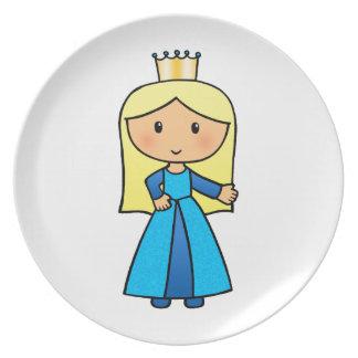 Princesa rubia linda del clip art del dibujo plato para fiesta