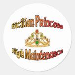 Princesa siciliana alto mantenimiento etiqueta redonda