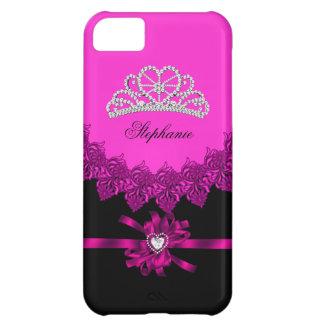 princesa Silver Tiara Pink Bejeweled del iPhone 5 Carcasa iPhone 5C