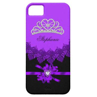 princesa Silver Tiara Purple Bejeweled del iPhone Funda Para iPhone SE/5/5s